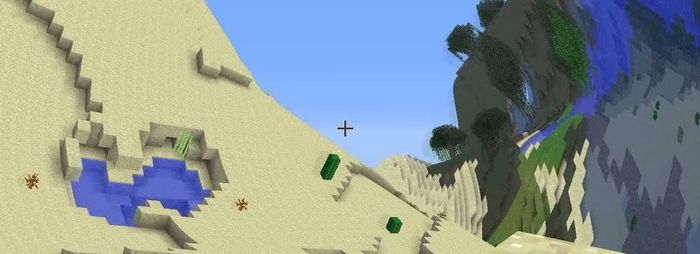 A scene from Minecraft, except the world is distorted and wavy