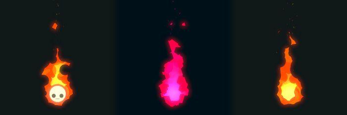 Three flames, the first has a face, the second is pink and geometric, and the third is normal