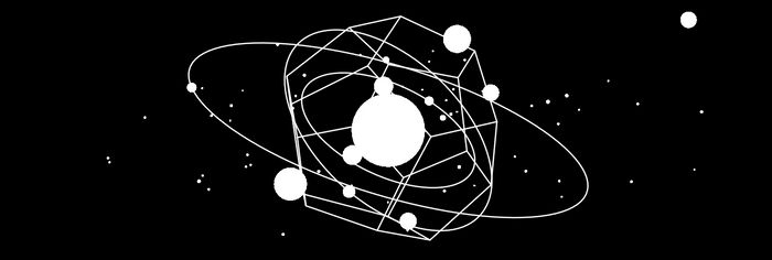 A solar system and a dodecahedron, in white lines over a black background