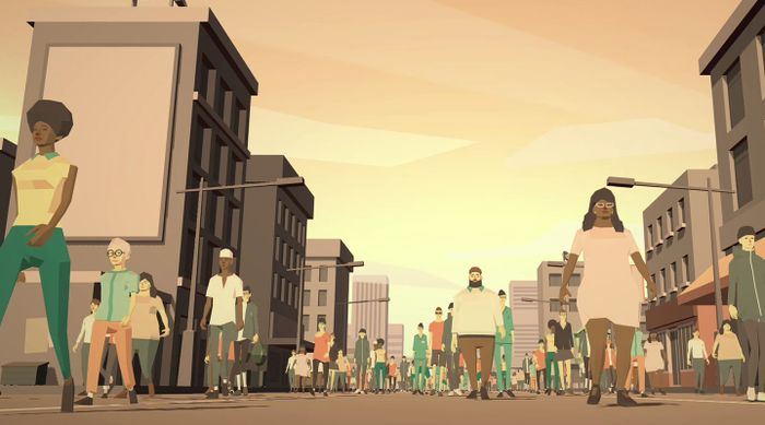 A 3D scene of a street with a crowd marching. Rendered in low-polygon, pastel colours